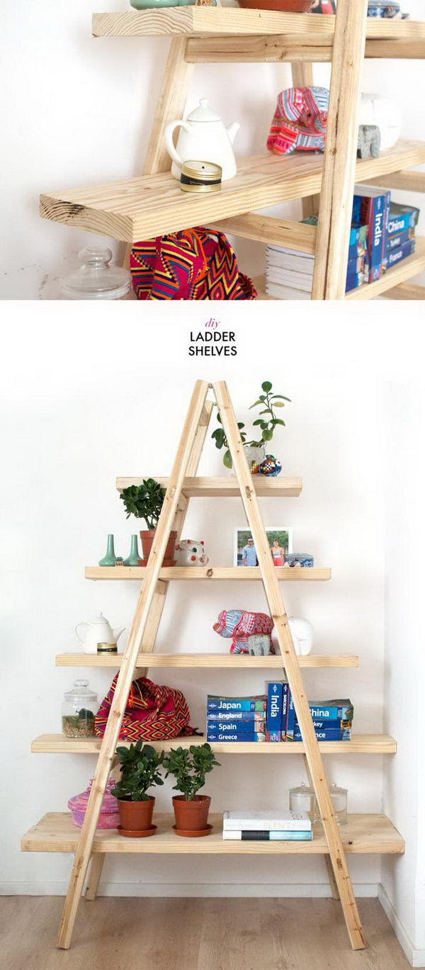 DIY Ladder Shelves.