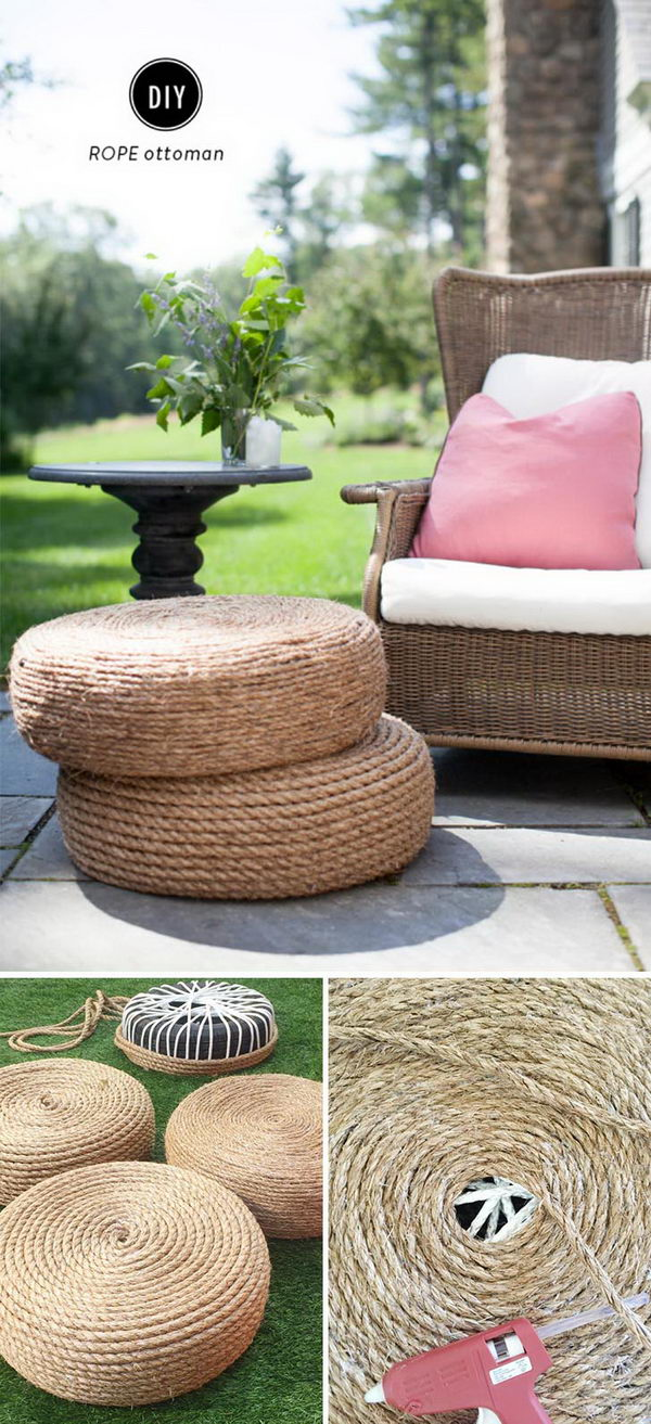 DIY Rope Ottomans.