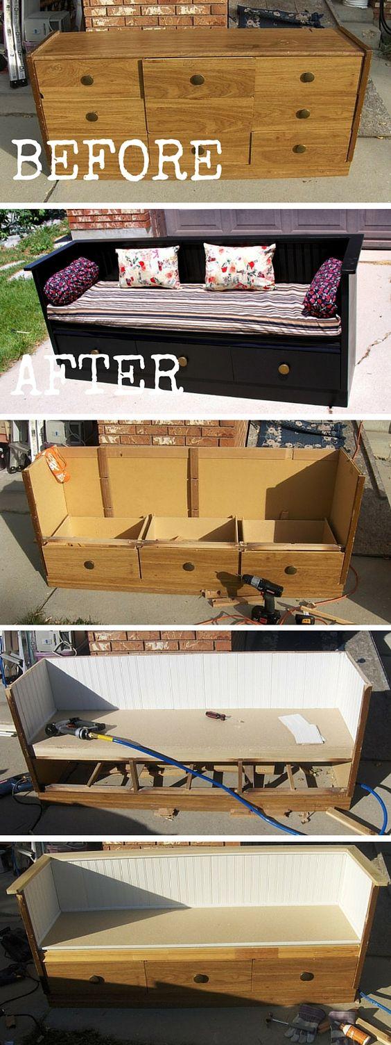 DIY an Old Dresser to a Bench.