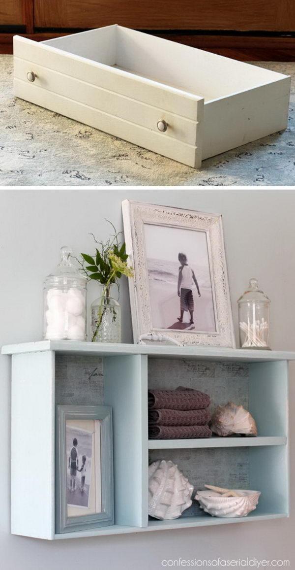 DIY Dresser Drawer Bathroom Shelf.