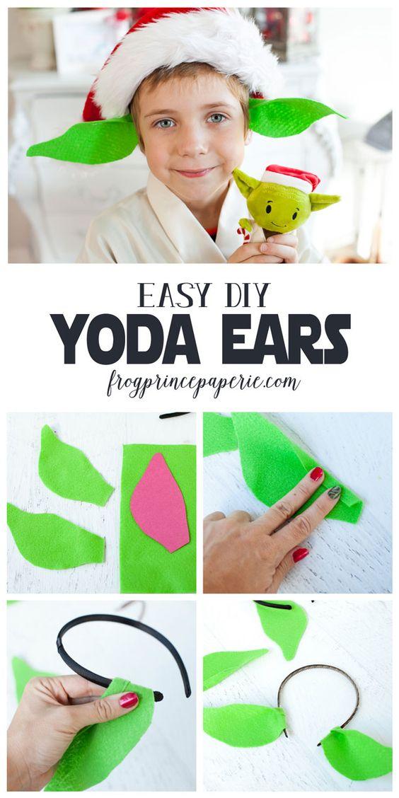5 minute DIY Yoda Ears from headband.
