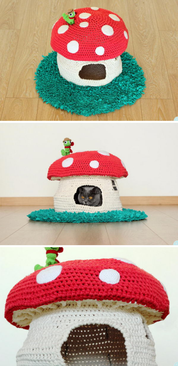 Woodland Mushroom Cat House.