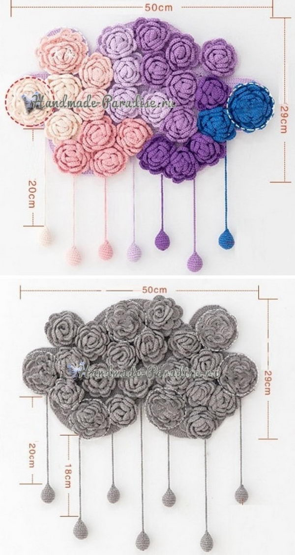 Crochet Rose Clouds Wall Decor.