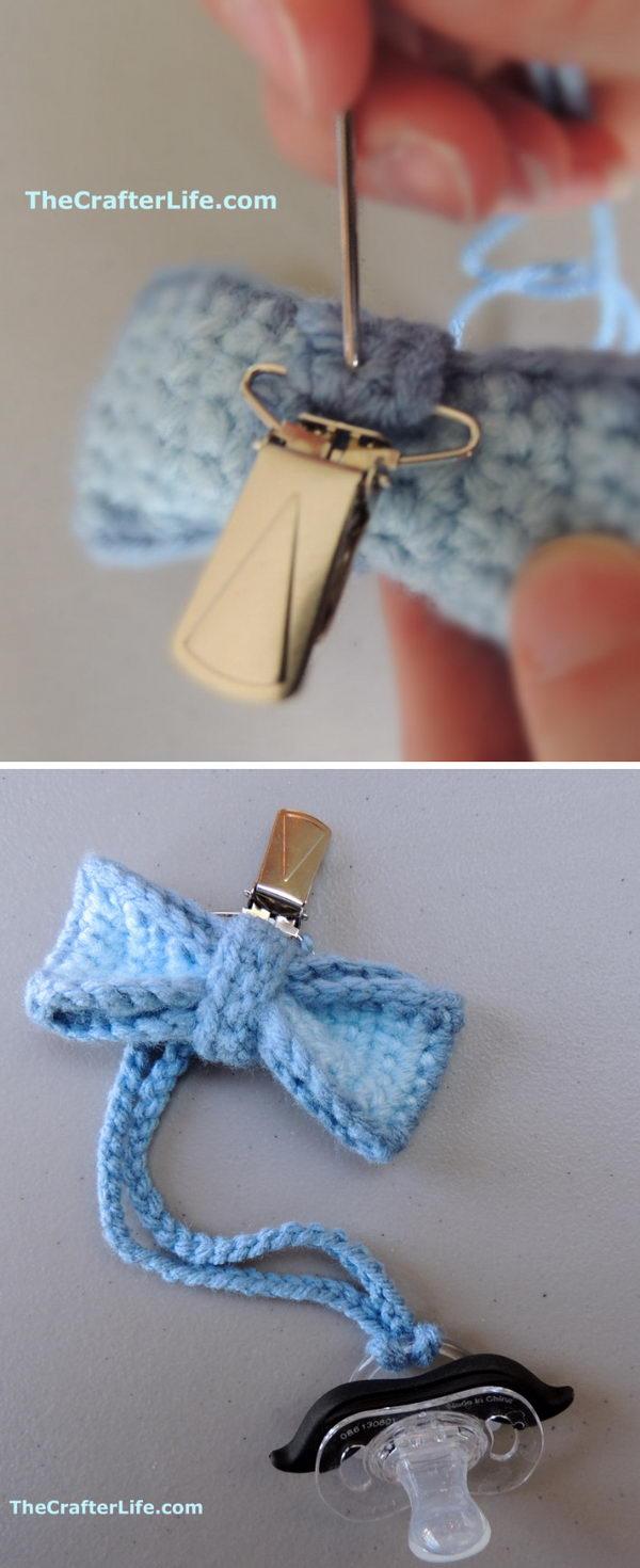 Crochet Bowtie Pacifier Clip.