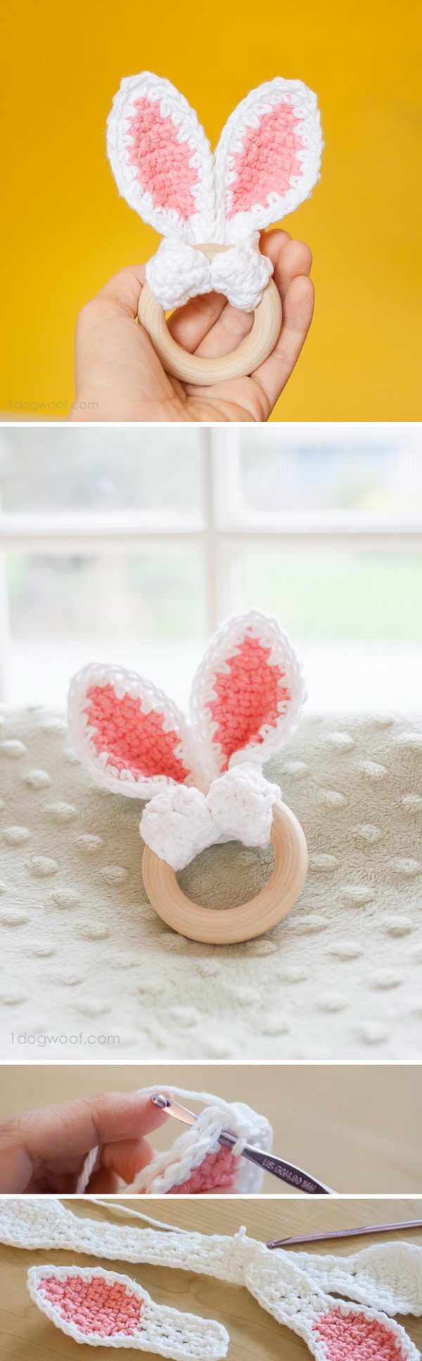 Crochet Bunny Ears Teether.