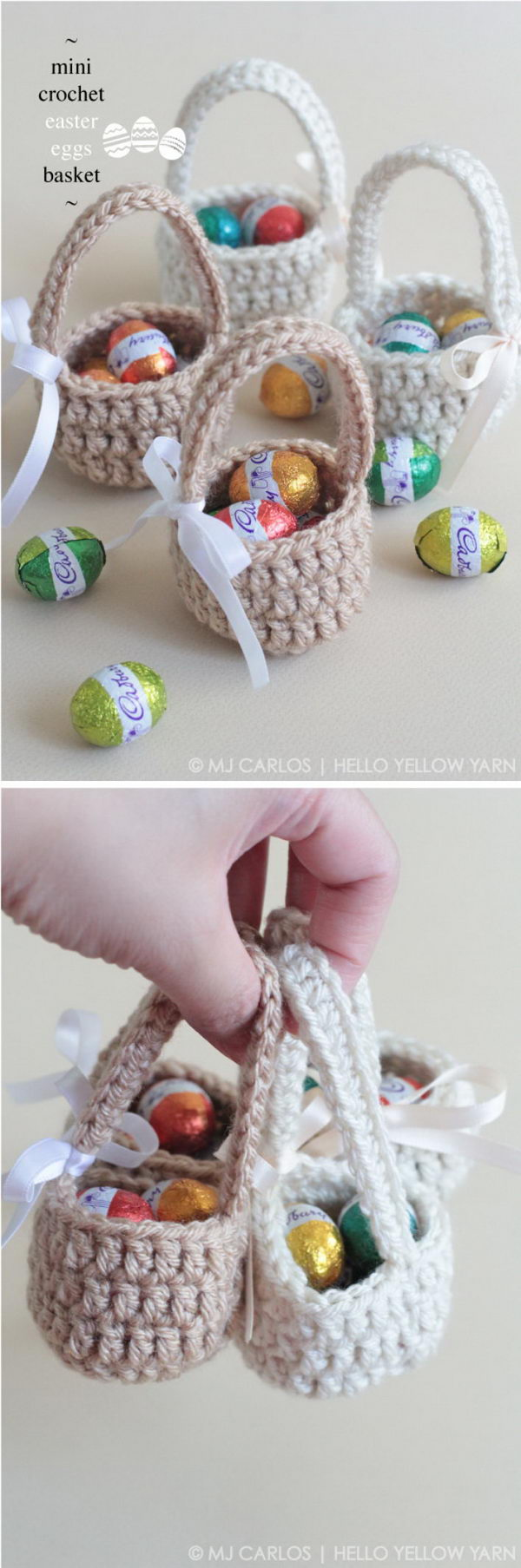 Mini Crochet Easter Eggs Basket.