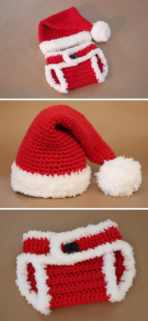 Crochet Santa Hat And Diaper Cover.