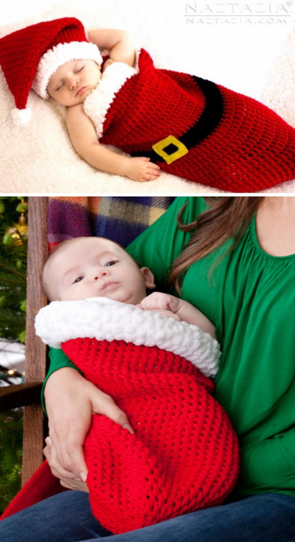 Crochet Holiday Baby Cocoon.
