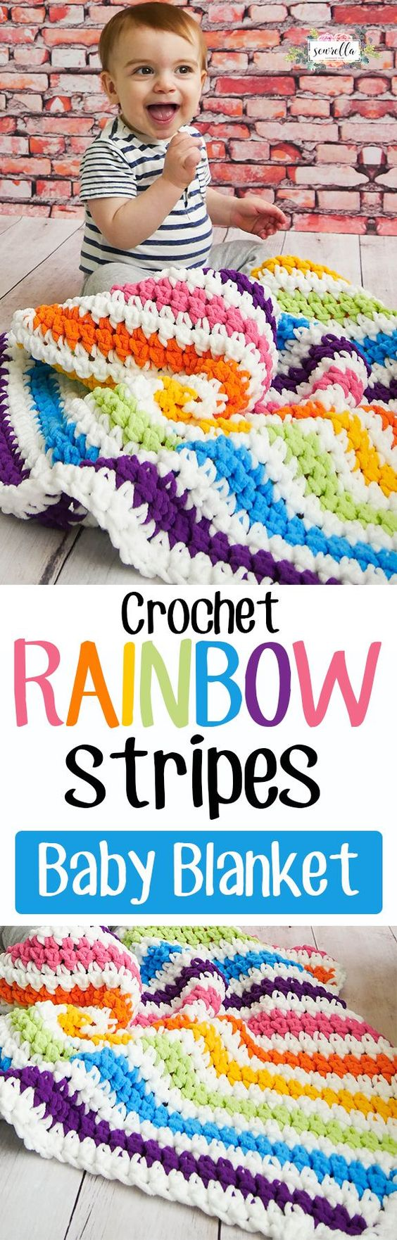 Crochet Rainbow Stripes Baby Blanket.
