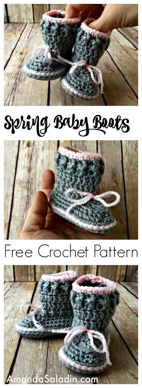 Spring Baby Boots Free Crochet Pattern.