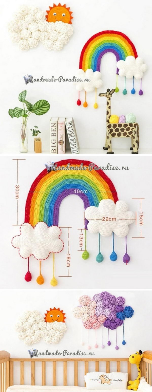 Crochet Rainbow Wall Decor.