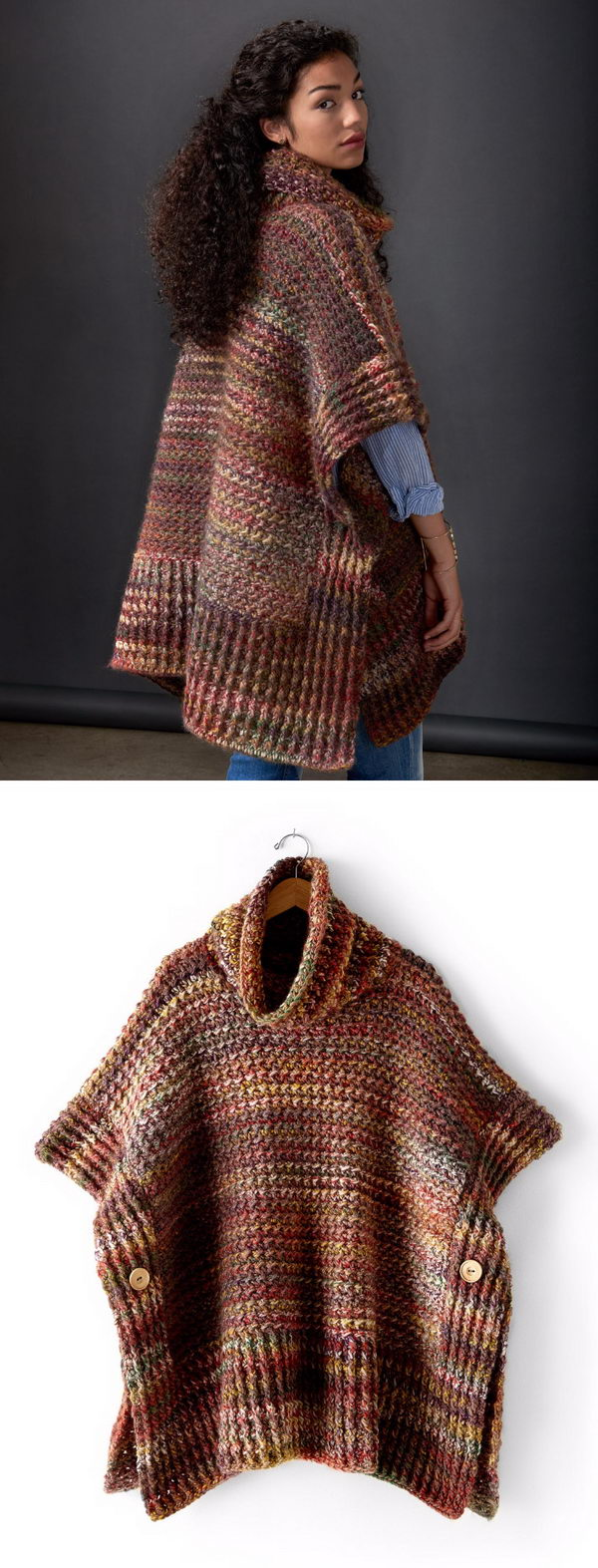 Easy Patons Tweed Under Wraps Poncho.