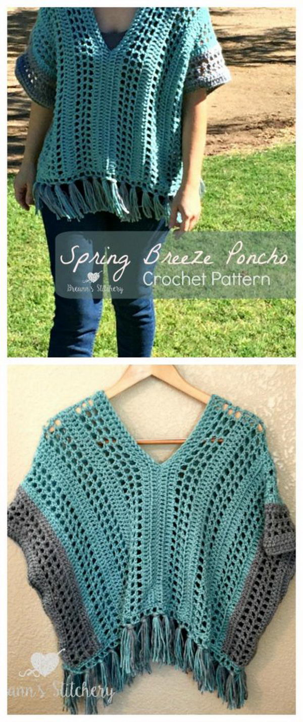 Spring Breeze Crochet Poncho.