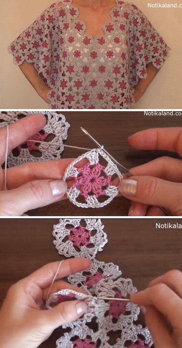 Crochet Flower Motif Tunic Poncho.