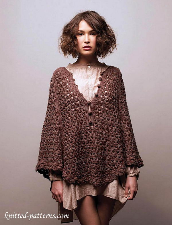 Crochet Buttoned Poncho.