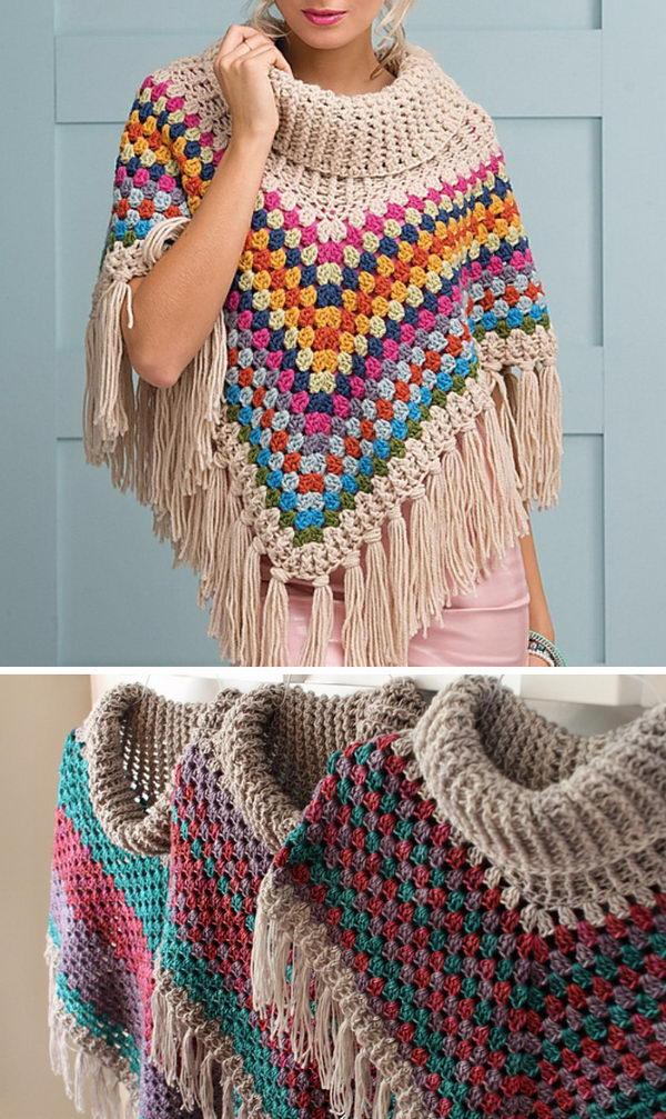 Crochet Cowl Neck Poncho.