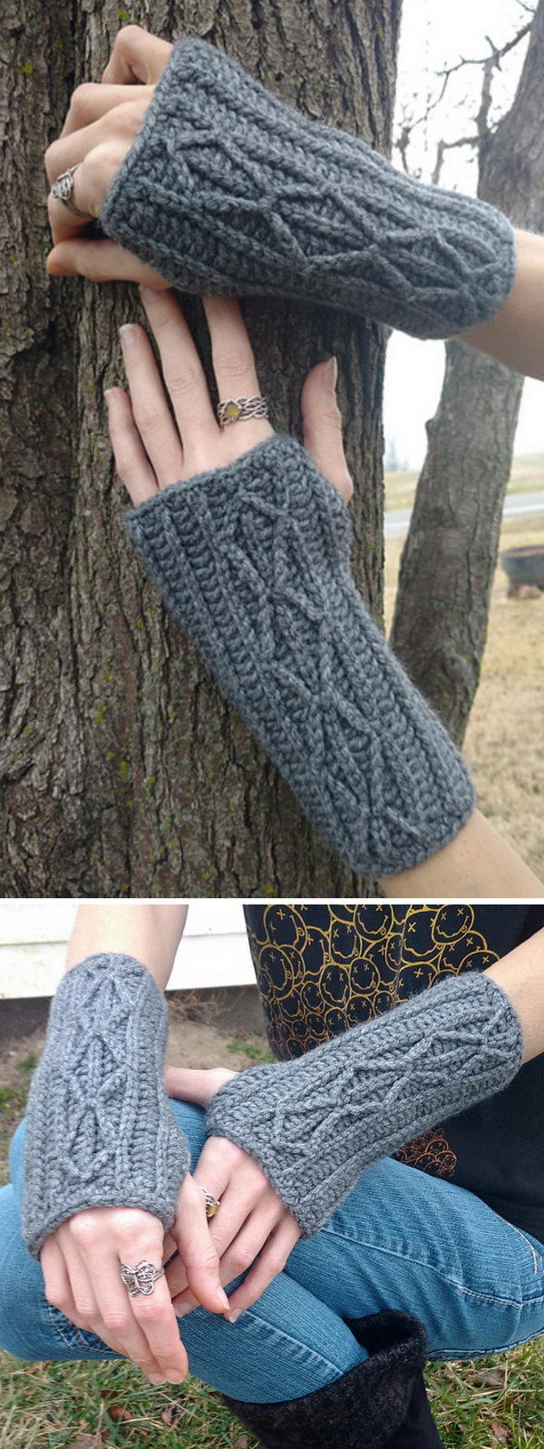 Faux Cable Adeline Fingerless Mitts Or Arm Warmers.