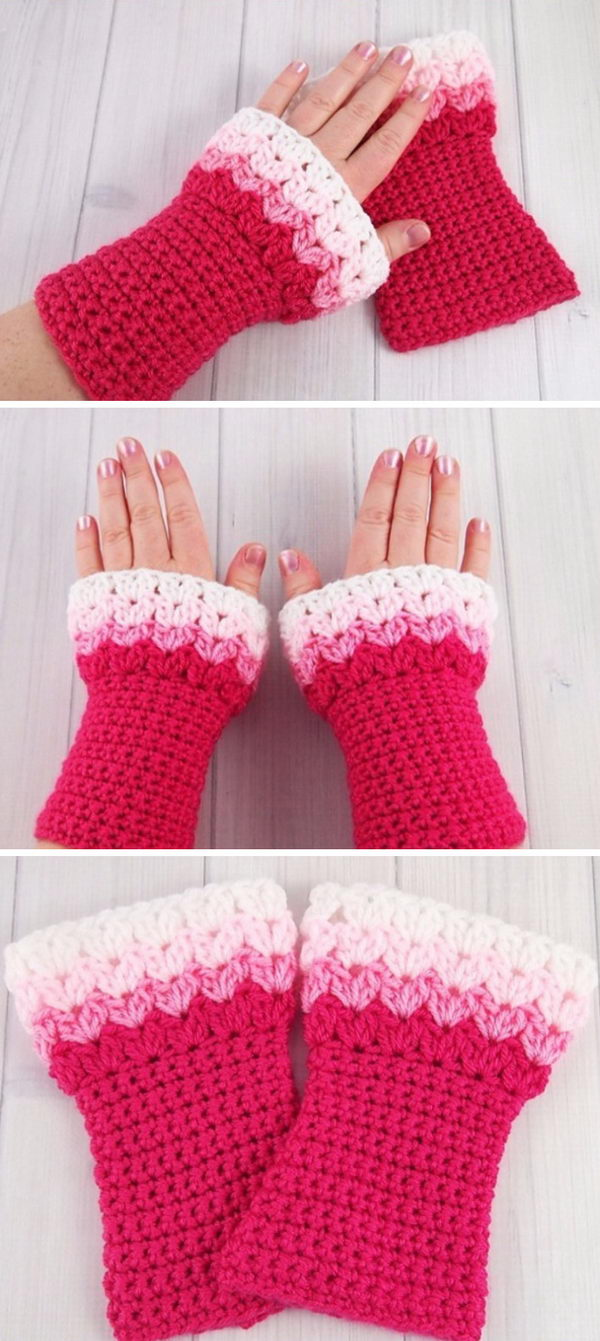 Sweetheart Crochet Wrist Warmers.