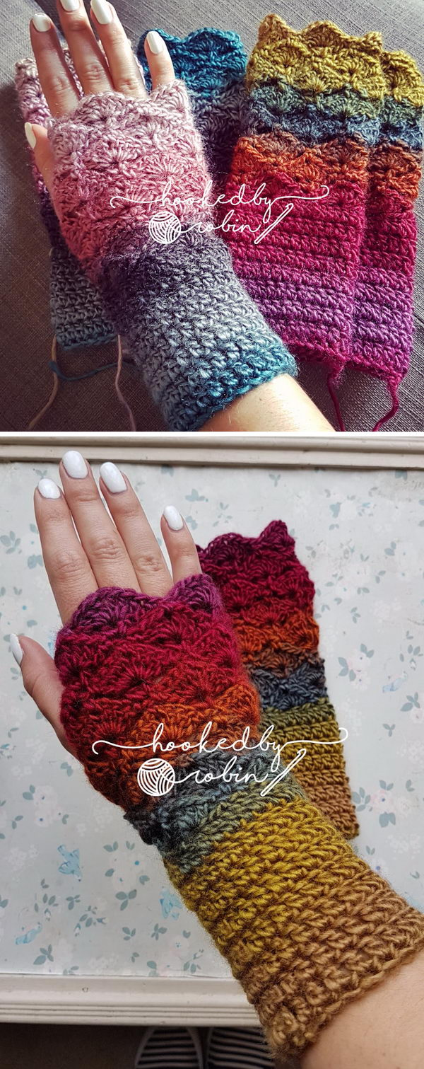 Fantail Stitch Fingerless Gloves.