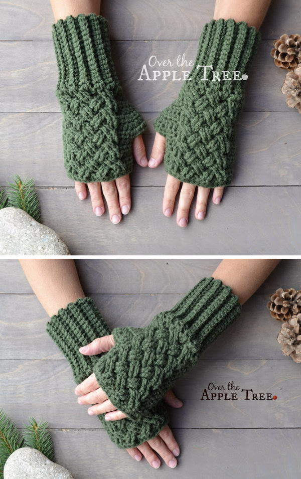Crochet Celtic Weave Fingerless Gloves.