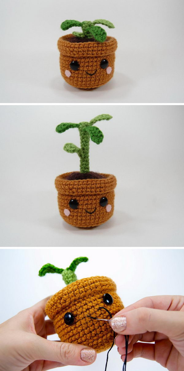 Pull And Grow Amigurumi Plant.