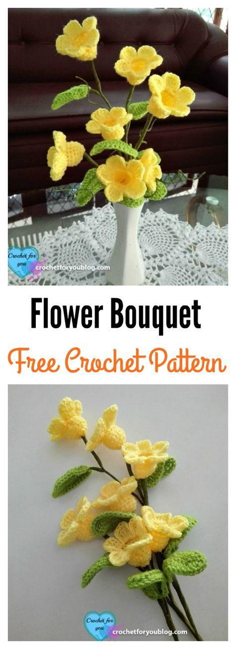 Crochet 3D Flower Bouquet Free Pattern.