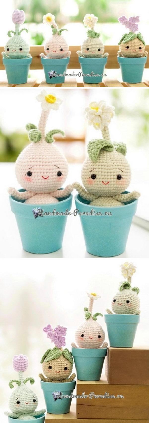Crochet Baby Flower Plant Bulb Dolls.