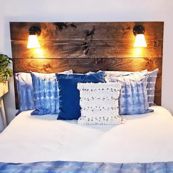 $150 DIY Reading Lamp Headboard Perfect For Every Book Lover.