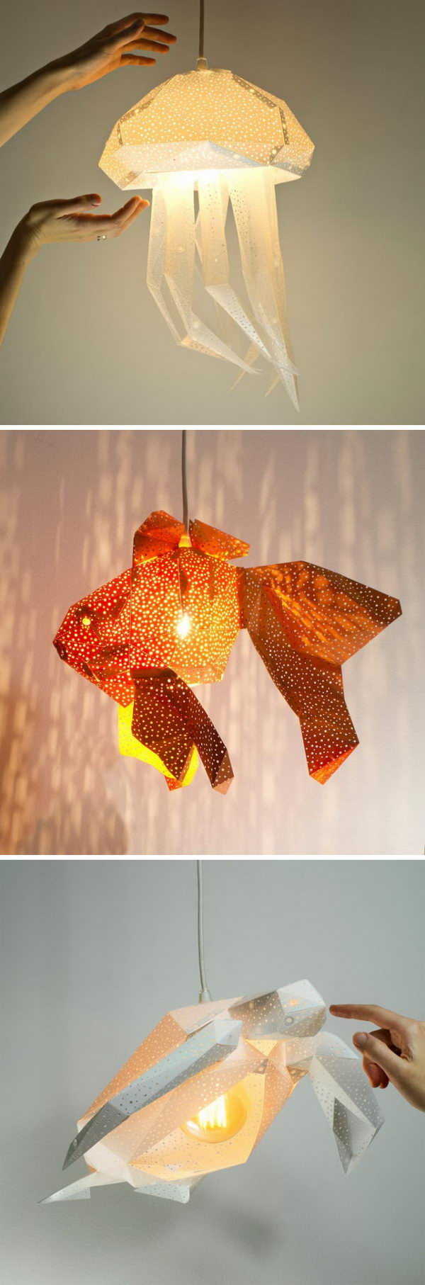Twinkling DIY Paper Lamp Shades Inspired by the Elegance of Sea Animals.