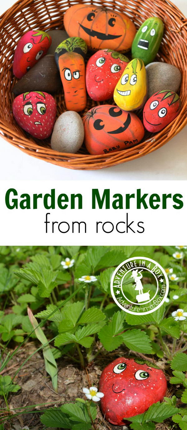 Make Garden Markers by Painting Stones.