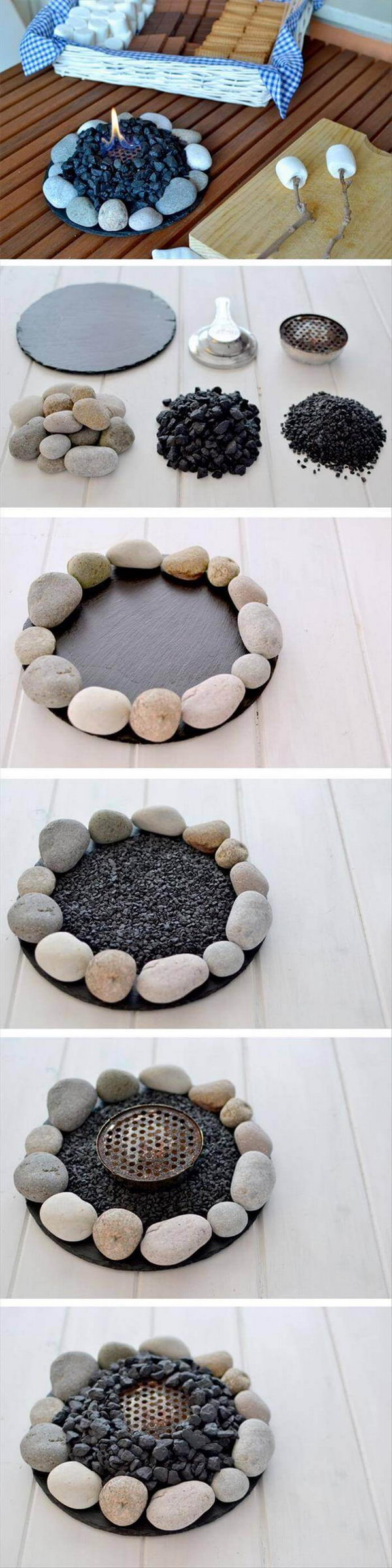 River Stone Table top Firepit.