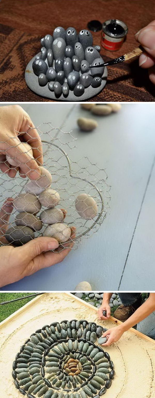 25 DIY Home Decor Ideas Using Pebbles and River Rocks.