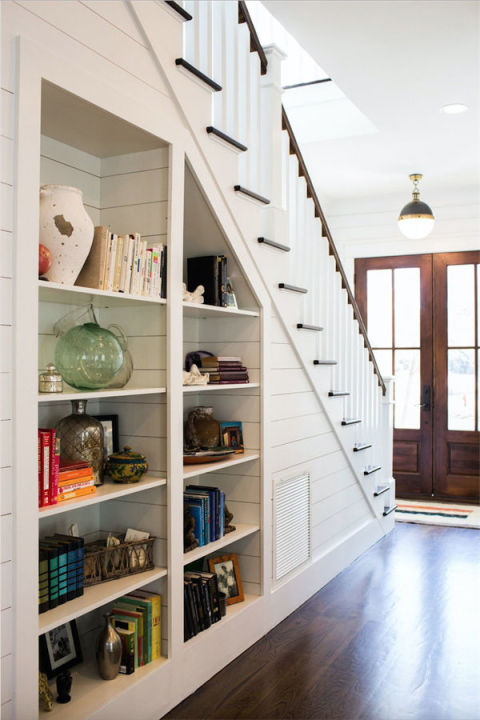 Built In Bookshelves Under Stairs.