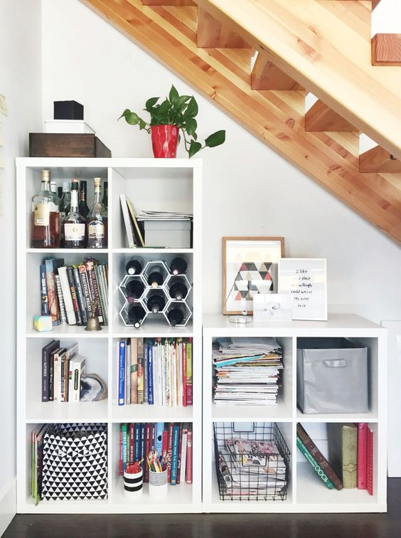 Storage Under The Stairs With Ikea Kallax System.