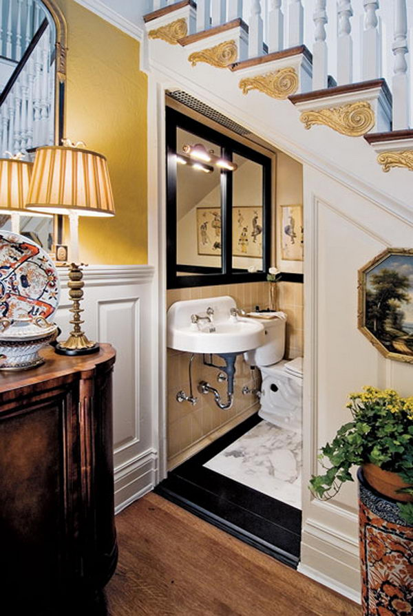 Powder Room Under Stairwell.