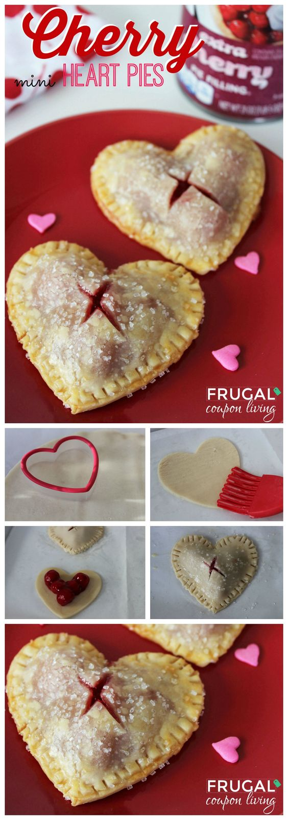 Valentine's Day Mini Cherry Heart Pies.