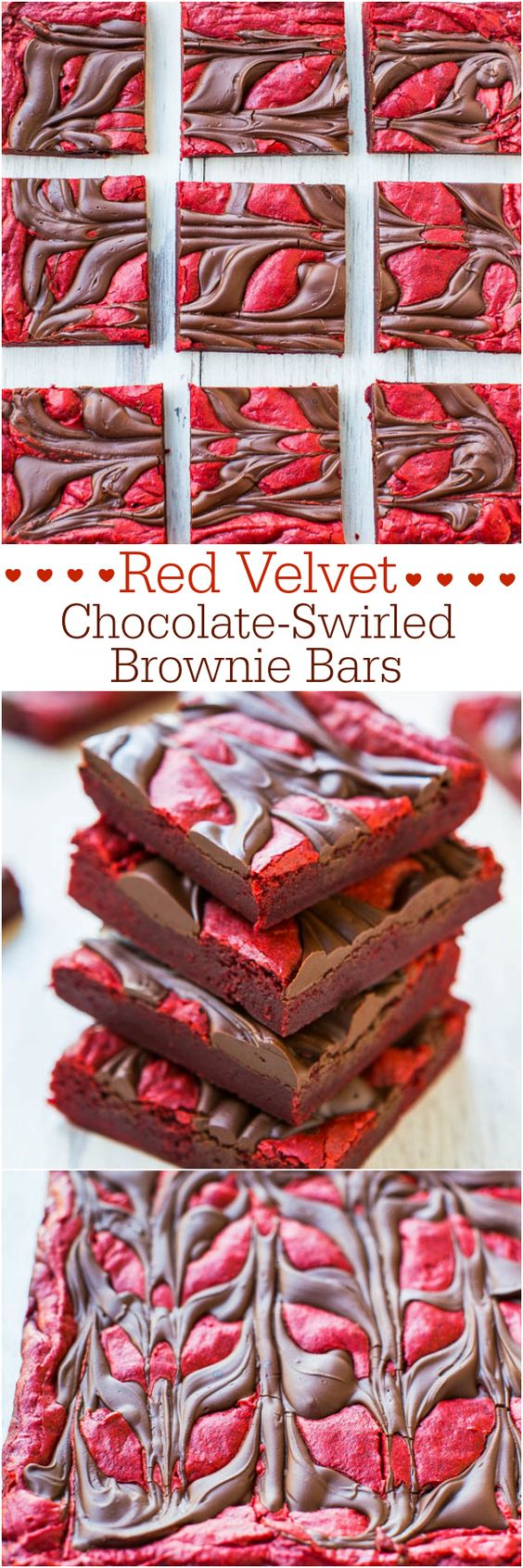 Red Velvet Chocolate Swirled Brownie Bars.