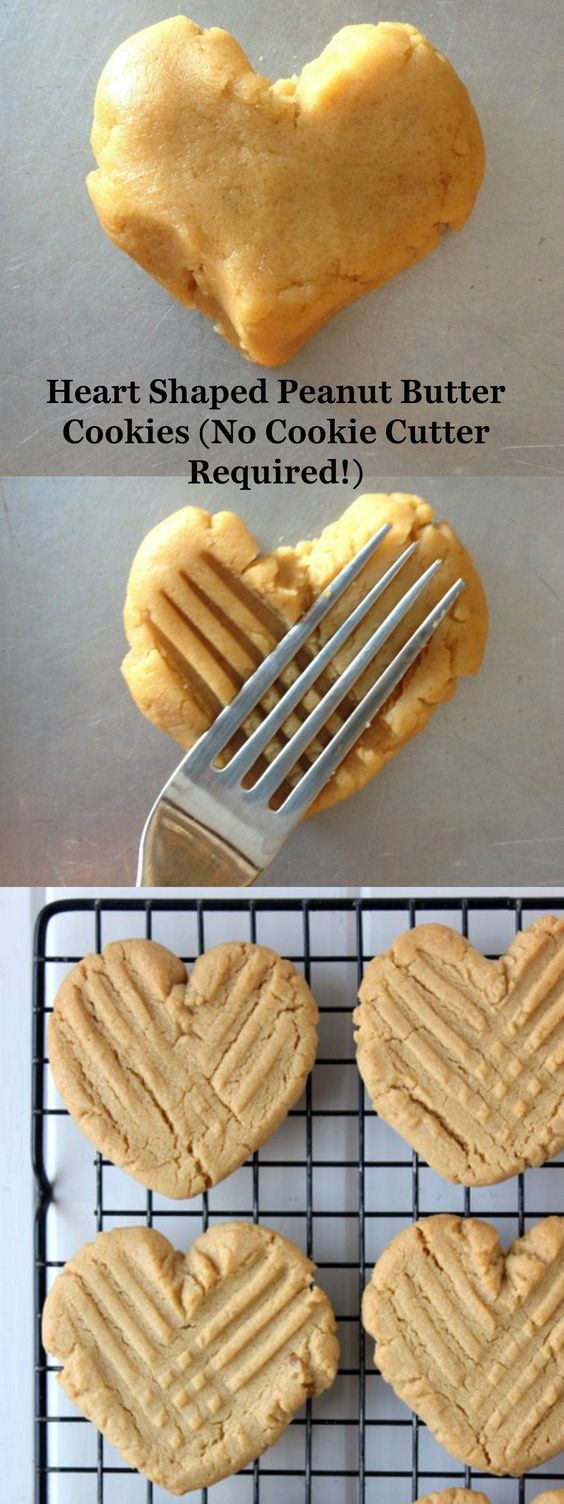 Heart Shaped Peanut Butter Cookies.