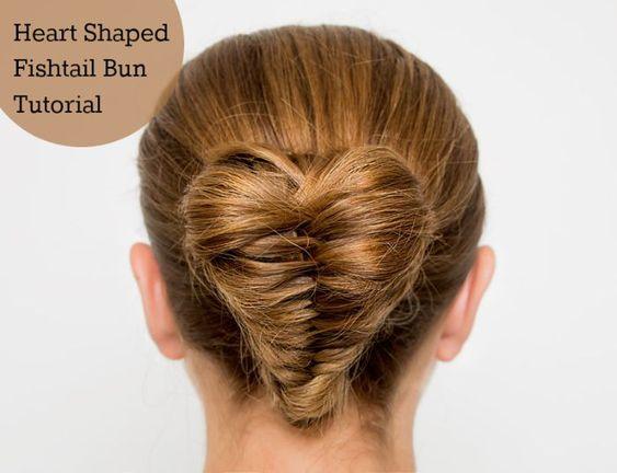 Heart Shaped Fishtail Braid Bun Hair.