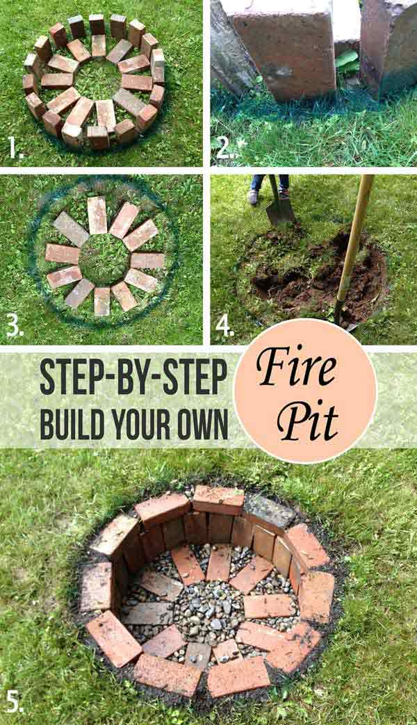 Build a fire pit to warm up your patio or yard in an evening.