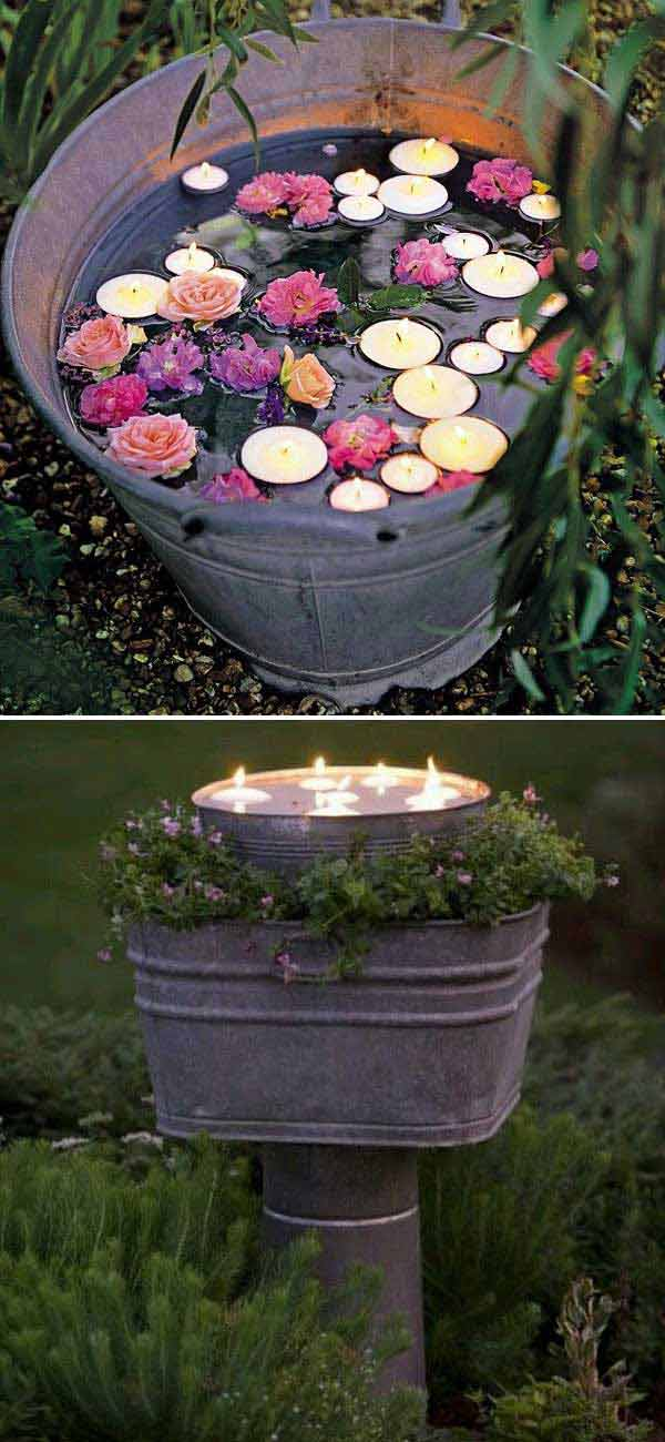 Floating candles bucket can be a simple and romantic backyard decoration.