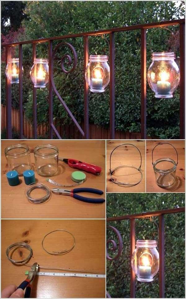 Hang these mason jar luminaries on the railing.