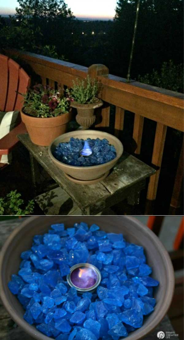 Go for an easy and cheap tabletop fire bowl.