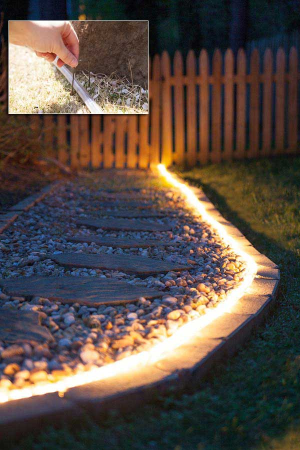 Install rope light as walkway illumination and landscape lights.