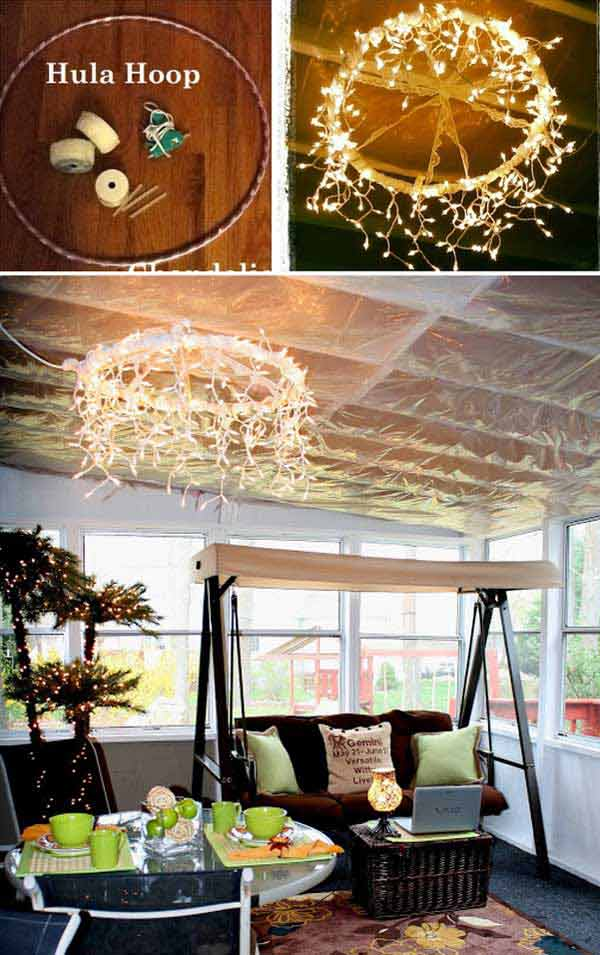 Wrap decorative ribbon and icicle lights around a hula hoop to create so cool chandelier.