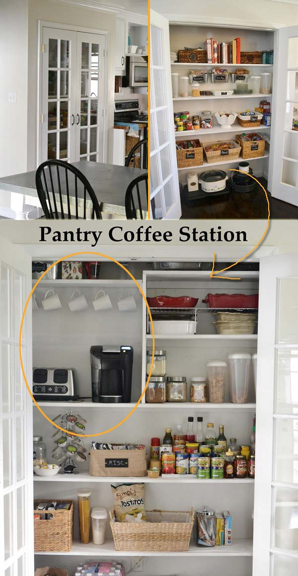 Make use of a corner of your kitchen pantry or a dining room closet and dedicate it to your love for coffee.