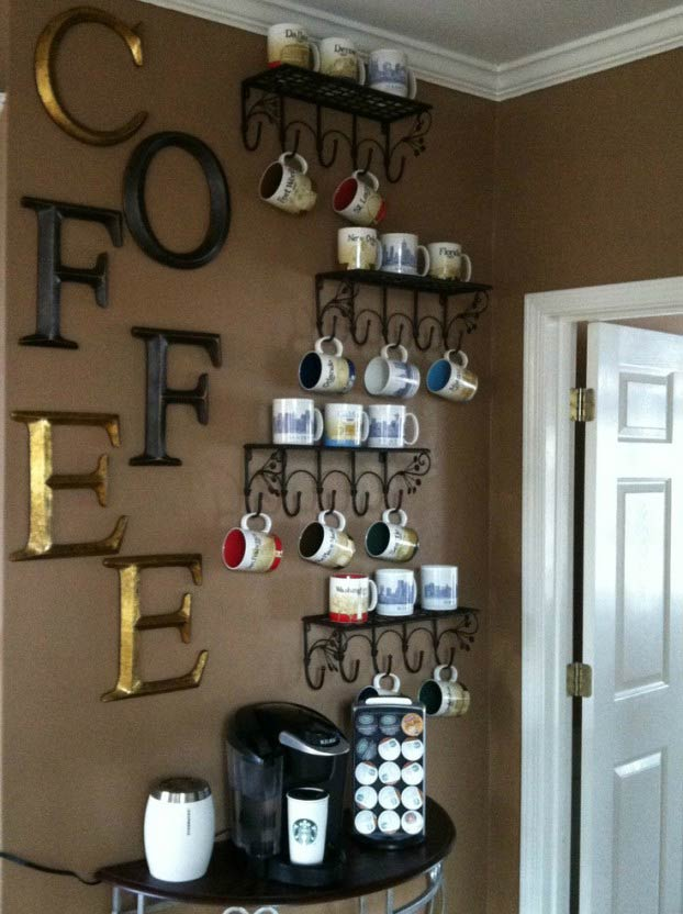Claim a small space of your hallway and make it a coffee bar, and the wall of coffee cups display will be a focal point of your home.