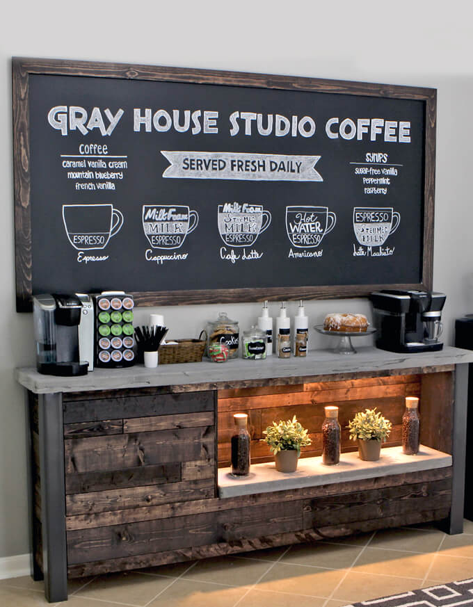 DIY Rustic Coffee Bar.