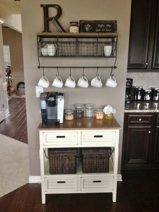 Upcycled Dresser As Coffee Station.