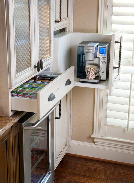Hide the coffee maker in a customized drawer.